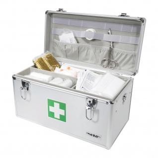 HMF 14701-09 Medizinkoffer, Erste Hilfe Koffer, Aluminium, Arzneikoffer, 40 x 22, 5 x 20, 5 cm, silber