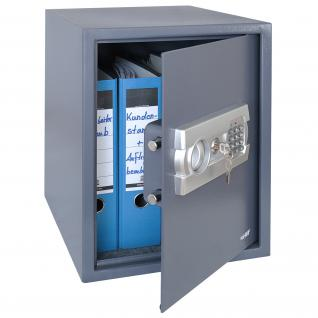 HMF 4612812 Möbeltresor Elektronikschloss, 36 x 48 x 37 cm, Zimmersafe, Hotelsafe, anthrazit