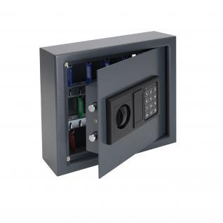 HMF 2030-11 Schlüsseltresor 30 Haken, Schlüsselschrank, Safe, 30 x 28 x 10 cm, anthrazit