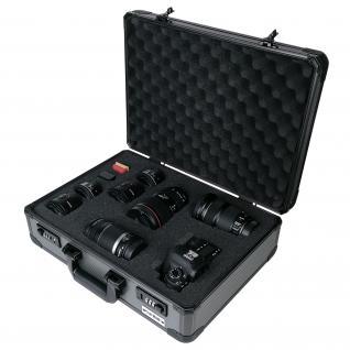 HMF 14402-02 Alu Fotokoffer, Waffenkoffer mit Rasterschaumstoff, Pistolenkoffer, Universalkoffer, 46 x 15 x 33 cm