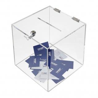 HMF 46917 Spendenbox Acryl Würfel, Aktionsbox, Losbox, 25 x 25 x 25 cm