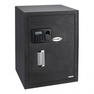HMF 49125 Möbeltresor Elektronikschloss, Fingerabdruckscan und Schlüsselschloss, 35 x 50 x 31 cm
