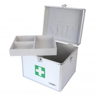 HMF 14702-09 Medizinkoffer, Erste Hilfe Koffer, Aluminium, Arzneikoffer, 30 x 25 x 25 cm, silber - Vorschau 3