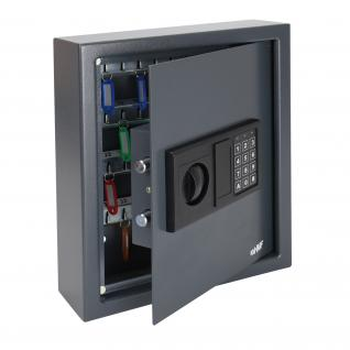 HMF 2048-11 Schlüsseltresor 48 Haken, Schlüsselschrank, Safe, Elektronikschloss, 36 x 30 x 10 cm, anthrazit
