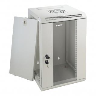 HMF 63309-07 Serverschrank 10 Zoll, 9 HE, Netzwerkschrank, 31, 2 x 30 x 48, 3 cm, lichtgrau - Vorschau 2