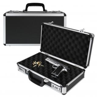 HMF 14403-02 Alu Pistolenkoffer, Kurzwaffenkoffer, Zahlenschloss, Universalkoffer, 42 x 12 x 25 cm