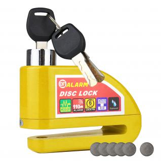 HMF 3510-17 Motorradschloss, Bremsscheibenschloss, Alarmfunktion, 110 db, 9 x 7 x 3, 5 cm, gelb