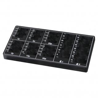 HMF 2690-02 Münzzählbrett Britische Pfund, Münzbrett, Spardose, 22, 5 x 11 x 2 cm, schwarz