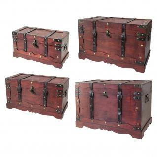 HMF 6400700 Schatztruhe, mit Schloss, Schatzkiste, Holzkiste Frankreich, 4er Set