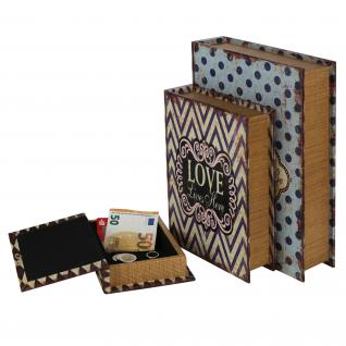HMF 80960 Buchtresor 3er Set Love, Antik-Look, Geldversteck, Buchsafe, 32, 5 x 23, 5 x 7, 5 cm