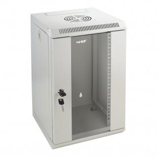 HMF 63309-07 Serverschrank 10 Zoll, 9 HE, Netzwerkschrank, 31, 2 x 30 x 48, 3 cm, lichtgrau