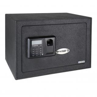 HMF 49122 Möbeltresor 3 Schließsysteme: Fingerabdruckscan, Elektronikschloss, Schlüsselschloss, Safe, 35 x 25 x 25 cm