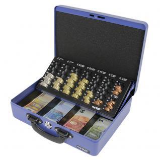 HMF 10026-05 Geldkassette 2 Tragegriffe, Geldzählkassette, Münzzählbrett, 30 x 24 x 9 cm, blau