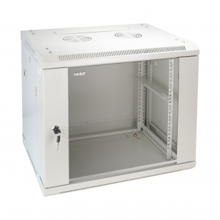 HMF 66409-07 Serverschrank 19 Zoll, 9 HE, Netzwerkschrank, 60 x 45 x 50 cm, lichtgrau