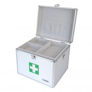 HMF 14702-09 Medizinkoffer, Erste Hilfe Koffer, Aluminium, Arzneikoffer, 30 x 25 x 25 cm, silber - Vorschau 2