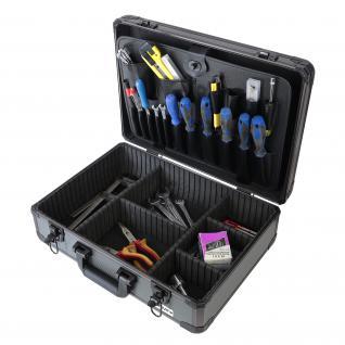 HMF 14601-02 Alu Werkzeugkoffer leer, Universalkoffer, verstellbare Facheinteilung, Werkzeugbox, 46 x 15 x 33 cm