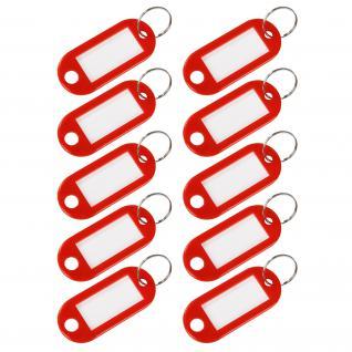 HMF 19010-03 Schlüsselanhänger mit Schlüsselring, Kunststoff, 5 x 2, 2 x 0, 26 cm, 10 Stück, rot