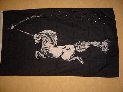 Flagge Fahne EINHORN SCHWARZER HINTERGRUND 150x90cm