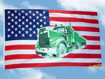 Flagge Fahne USA TRUCK GRÜN 150 x 90 cm