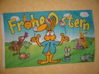 Flagge Fahne FROHE OSTERN HASE HUHN 150 x 90 cm