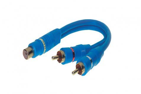 kabelmeister® Cinchkupplung auf 2 Cinchstecker, doppelt geschirmt, blau 0, 2m