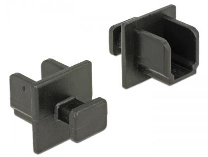 Staubschutz für USB 3.0 Typ-B Buchse, mit Griff, 10 Stück, schwarz, Delock® [64010]