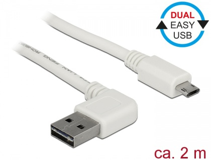 Kabel EASY-USB 2.0 Typ-A Stecker gewinkelt links / rechts an EASY-USB 2.0 Typ Micro-B Stecker, weiß, 2 m, Delock® [85172]