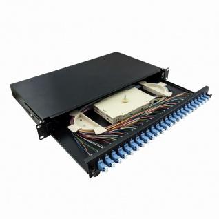 19' Komplett bestückte Spleißboxen LC-DX 24 Port, Single Mode OS2, 1HE, hellgrau, LogiLink® [F24LC2G]