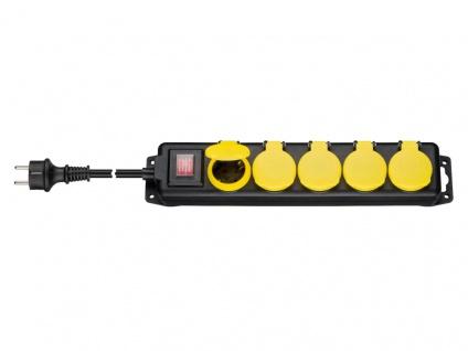 Steckdosenleiste 5-fach, mit beleuchtetem Ein-/Aus- Schalter, für den Außenbereich geeignet, schwarz / gelb, 3m