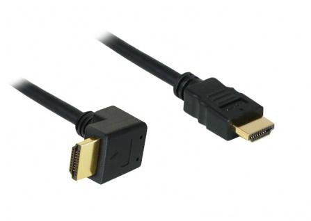 kabelmeister® High-Speed-HDMI®-Kabel mit Ethernet, Winkelstecker unten, vergoldete Stecker, 1m