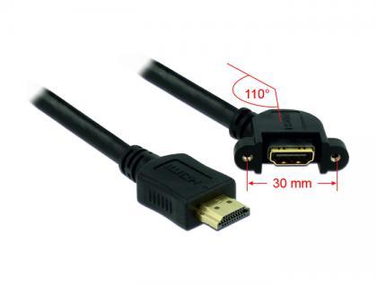 Kabel HDMI A Stecker an HDMI A Buchse zum Einbau 110____deg; gewinkelt 1m, Delock® [85103]