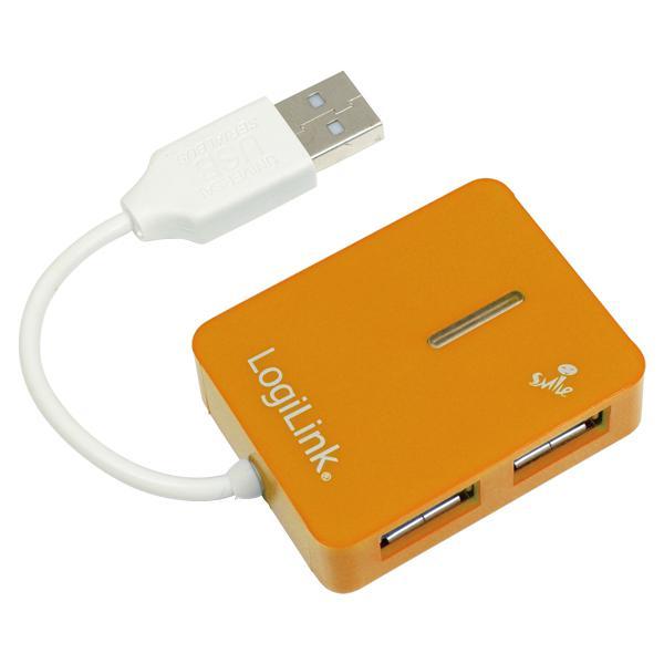 USB 2.0 Hub, 4-Port, Smile, Orange, LogiLink® [UA0137]
