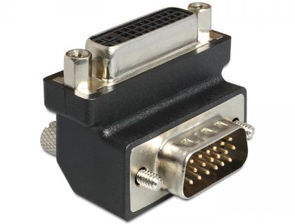 Adapter, DVI, 24+5 Pin Buchse zu VGA 15 Pin, Stecker 90____deg; gewinkelt, Delock® [65425]