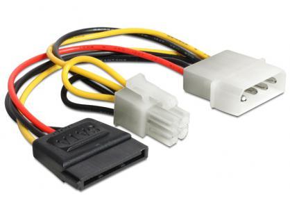Kabel Power 4pin Molex Stecker an SATA 15Pin Buchse + P4 Stecker, Delock® [60127]