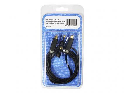 Anschlusskabel Toslink, High Quality, Stecker an Stecker, Ø 4mm, + 2 Adapter auf mini Toslink, schwarz, 2m, Good Connections®