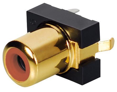 Einbaubuchse, Cinch, vergoldet, rot, Good Connections®