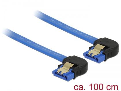 Kabel SATA 6 Gb/s Buchse unten gewinkelt an SATA Buchse unten gewinkelt, mit Goldclips, blau, 1m, Delock® [85099]