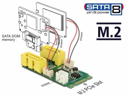 Konverter M.2 Key B+M Stecker > 2 x SATA Pin 8 Power Stecker, Delock® [63464]