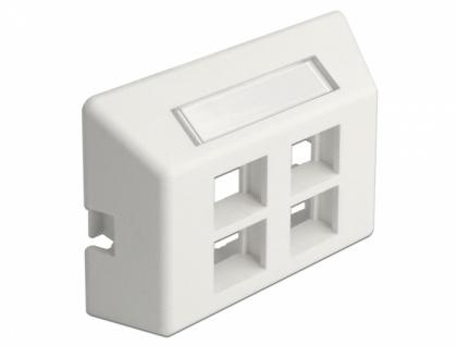 Keystone Anschlussdose 4-Port für Möbeleinbau, weiß, Delock® [86293]