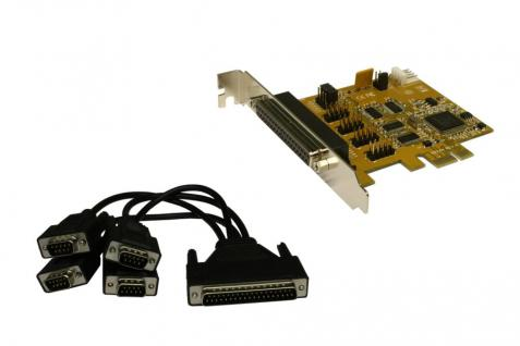 4S Seriell RS232 PCIe Karte mit Octopus Kabel 37 Pin Buchse (MosChip Chip-Set), Exsys® [EX-44054]