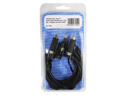 Anschlusskabel Toslink, High Quality, Stecker an Stecker, Ø 4mm, + 2 Adapter auf mini Toslink, schwarz, 5m, Good Connections®