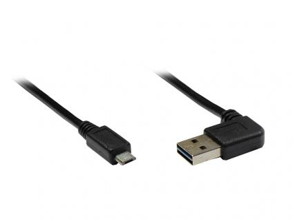 Anschlusskabel USB 2.0 EASY Stecker A gewinkelt an Stecker Micro B, schwarz, 1m, Good Connections®
