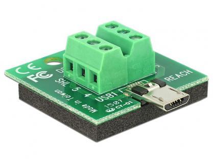 Adapter Terminalblock an Micro USB Stecker, Delock® [65597]