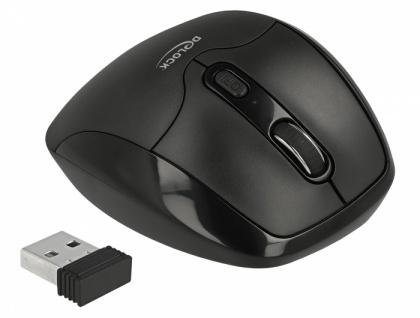 Ergonomische optische 5-Tasten Maus 2, 4 GHz kabellos mit Handballenauflage - Rechtshänder, Delock® [12673]