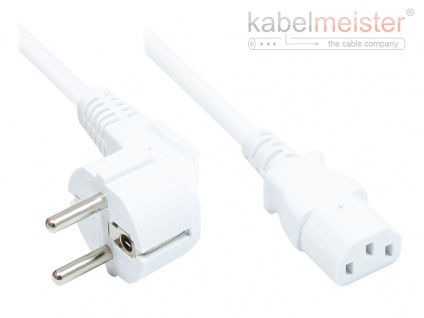 kabelmeister® Netzkabel Schutzkontakt-Stecker Typ E+F (CEE 7/7, gewinkelt) an C13 (gerade), weiß, 0, 75 mm², 1, 8 m