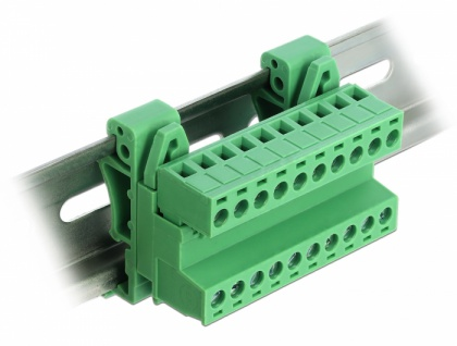 Terminalblock Set für Hutschienen, 10-Pin, mit Rastermaß 5, 08mm, gewinkelt, Delock® [66082]