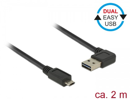 Kabel EASY-USB 2.0 Typ-A Stecker gewinkelt links / rechts an EASY-USB 2.0 Typ Micro-B Stecker, schwarz, 2 m, Delock® [85166]