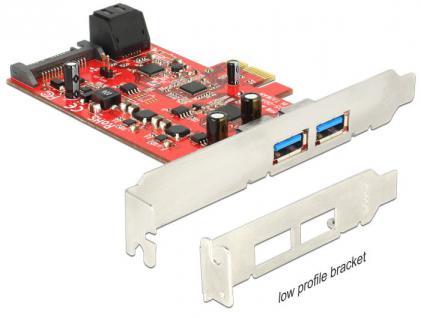 PCI Express Karte an 2 x extern USB 3.0 + 2 x intern SATA 6 Gb/s Low Profile Form Faktor, Delock® [89389]