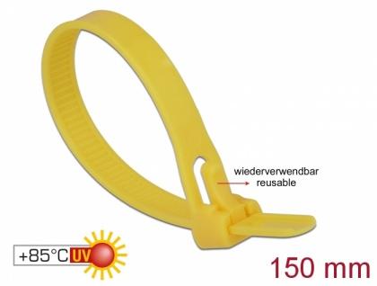 Kabelbinder wiederverwendbar hitzebeständig, L 150 x B 7, 5mm, 100 Stück, gelb, Delock® [18760]