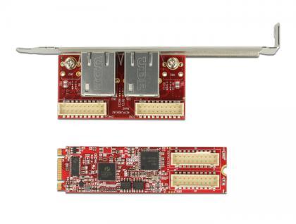 M.2 Adapter M.2 an 2 x RJ45 Gigabit LAN Port -40____deg; C ~ 85____deg; C (PCIe), Delock® [62754]